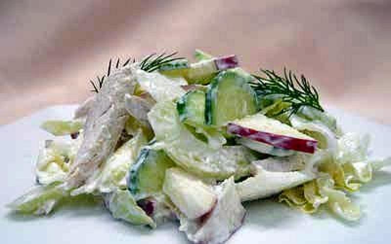 Салат с сельдереем и отварной курицей