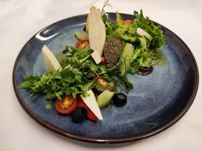 Greek salad with olive tapenade