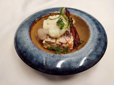 Author's Olivier with poached egg and grilled chicken